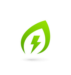 Eco leaves power energy logo icon design template vector