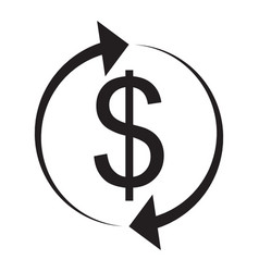 Exchange and currency conversion dollar icon vector