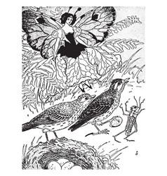 Fairy and skylark vintage vector