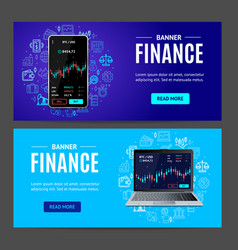 finance concept banner horizontal set vector image
