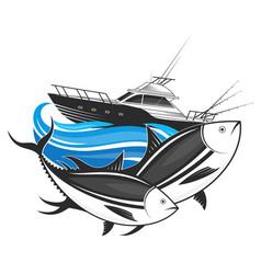 Fishing boat and tuna vector