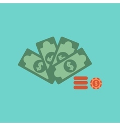 flat icon on background Money dice chips vector image