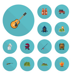 Flat icons barbecue lifesaver weapon and other vector