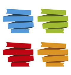 Folded ribbons banners differents colors vector image