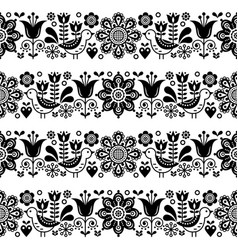 Folk art seamless floral pattern scandinav vector
