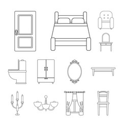 Furniture and interior outline icons in set vector