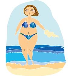 girl on a beach vector image