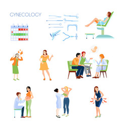 Gynecology flat icon set vector