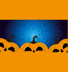 halloween banner with three pumpkins vector image