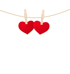 hearts clothespins 02 vector image