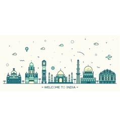 Indian skyline linear style vector