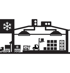 Industrial cold store scene vector