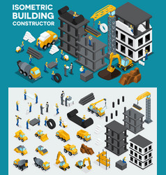 isometric building create your own design vector image