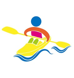 Kayaking icon on white background vector