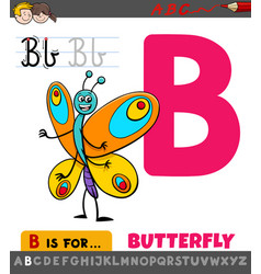 Letter b worksheet with cartoon butterfly vector