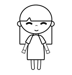 Line tender girl child with pijama and hairstyle vector