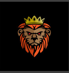 lion king with black background logo icon vector image