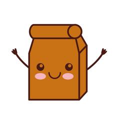 lunch bag in paper bag kawaii character vector image vector image