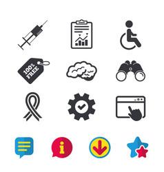 Medicine icons syringe disabled brain vector