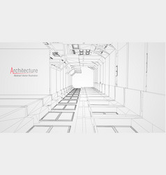 modern architecture wireframe concept of urban vector image