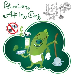 Monster-Green-Cleaner vector