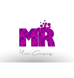 Mr m r dots letter logo with purple bubbles vector