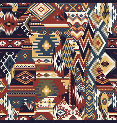 Native american fabric patchwork wallpaper vector