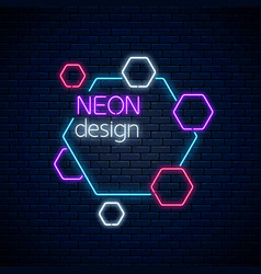neon abstract glowing design on dark brick wall vector image
