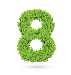 Number of green leaves with shadow vector image