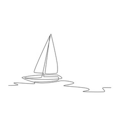 One single line drawing sail boat sailing on vector