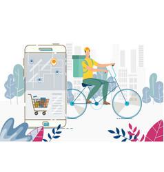 Order delivery anywhere food basket via mobile app vector