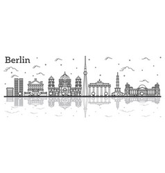 outline berlin germany city skyline vector image