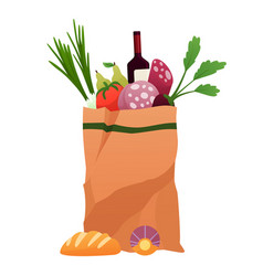 paper shopping bag products grocery vegetables vector image