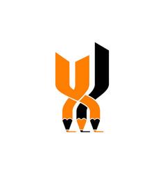 pencil flexible logo design template vector image