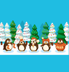 penguins in forest pine trees winter landscape vector image