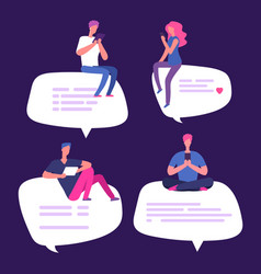 people sit on speech bubbles with smartphones vector image
