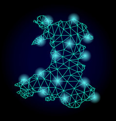 polygonal network mesh map of wales with light vector image