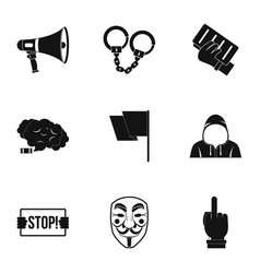 Protester icon set simple style vector