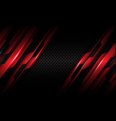 Red circuit metallic dark grey circle mesh vector