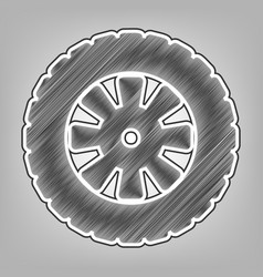 road tire sign pencil sketch imitation vector image