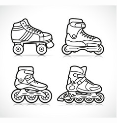 Roller skate icon set vector