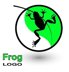 Round logo with a frog on a bright green leaf vector image
