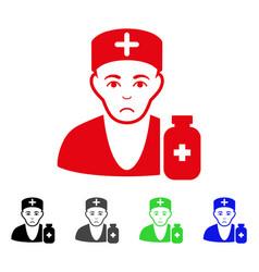 Sad apothecary doctor icon vector