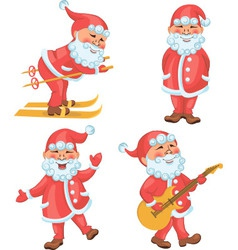 Santa in different actions cartoon set vector image