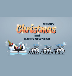 santa with elf in robotic modern sleigh with robot vector image