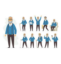 senior man - cartoon people character set vector image