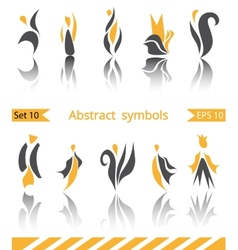 Set of 10 different abstract flat summer and vector image