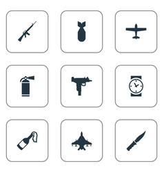 Set of 9 simple war icons can be found vector