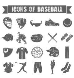 Set of icons of baseball vector