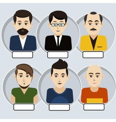 Set of stylish avatars man icons vector